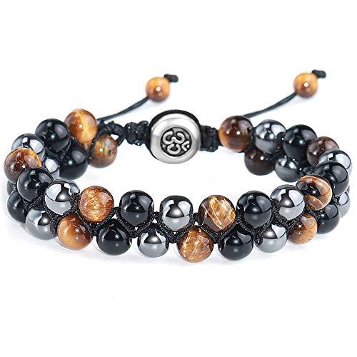 Gleamart Lava Rock Stone Bead Bracelet Volcanic Stone Bracelet for Men Women