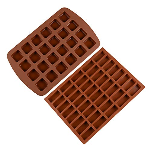 Silicone Brownie Baking Molds Pan - Small Cake Candy Molds Square and Rectangular Silicone Chocolate Molds Set of 2