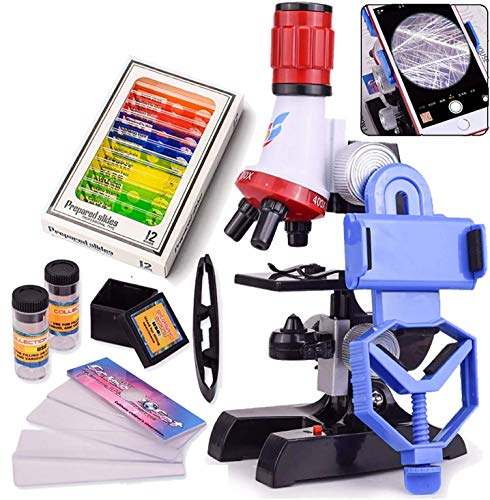 TooFu Childrens Microscope Set, with 100X 400X and 1200X Magnification LED Childrens Educational Toys, with 12 Pcs Specimen Slide and Mobile Phone Holder, Suitable for Childrens Educational Toys