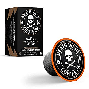 Death Wish Coffee Death Cups [50 count] | Single-serve Coffee Pods | The World s Strongest Medium Roast | USDA Certified Organic Fair Trade | Arabica and Robusta Beans | A Lighter Shade of Bold