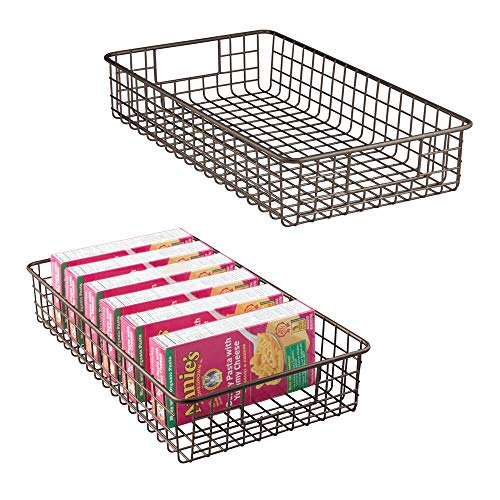 mDesign Household Metal Wire Cabinet Organizer Storage Organizer Bins Baskets trays - for Kitchen Pantry Pantry Fridge, Closets, Garage Laundry Bathroom - 16 x 9 x 3 - 2 Pack - Bronze