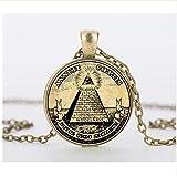 Collar con colgante de cristal con diseño de ilustración masónica, con símbolo vintage de Illuminati
