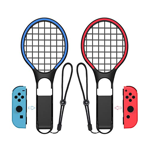 SXLTECH 1 Pair Tennis Racket for Nintendo Switch, Dazzling Two - Color Tennis Racket Compatible with N-Switch Joy-Con Controllers Compatible with Mario Tennis Aces Games (Black)