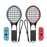 SXLTECH 1 par de Raquetas de Tenis para Nintendo Switch, Dazzling Two – Raqueta de Tenis de Color Compatible con N-Switch Joy-con Controllers Compatible con Mario Tennis Aces Games, Negro