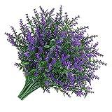 rongweiwang 8 Piezas Lavender Artificial 5 Ramas Fake Plastic Bouquet Falso Ramo de la Flor de la simulación de la Boda, púrpura 1