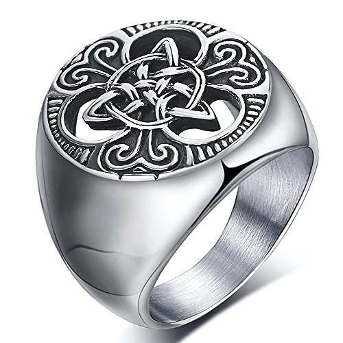 ENHONG Mens Celtic Knot Signet Rings Round Vintage Stainless Steel Ring for Biker Size 10