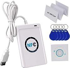 HFeng 13,56 MHz RFID Lector de Tarjetas de Copiador de Lector de Tarjetas NFC Programador USB + Software SDK Gratis + 5 pcs S50 MF Tarjetas + 5pcs UID Writable Keyfobs ACR122U