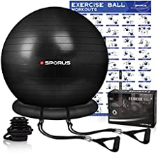 Sporus Exercise Ball Chair 75 cm, Yoga Ball for Office, Fitness, Pregnancy with Stability Ball Base & Workout Poster, Improve Balance, Training Strength & Posture for Gym, Home Black [Pump Included]