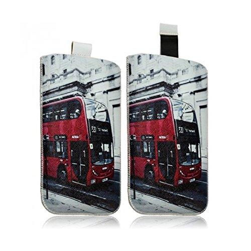 Seluxion LM01-Funda calcetín universal para teléfono móvil talla XL, diseño de autobús londinense para LG G3, LG G Flex 2