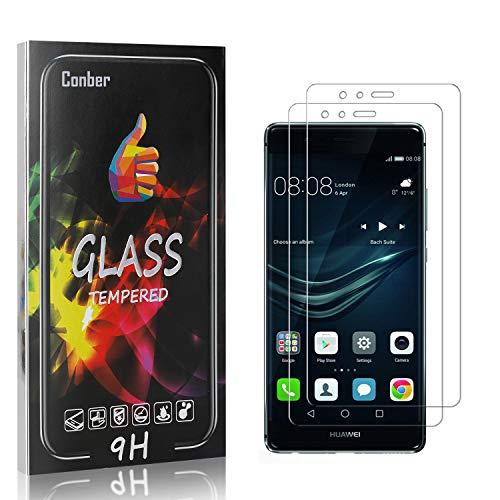 Conber [2 Stück] Displayschutzfolie kompatibel mit Huawei P9, Panzerglas Schutzfolie für Huawei P9 [Hüllenfreundlich][9H Härte]