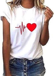 93ecd4ed3ab FELZ Blusas para Mujer Elegantes Camiseta de Mujer Manga Corta Impresión  Camisa con Cuello en O