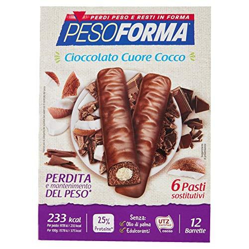 Pesoforma Barrette Cioccolato Cuore Cocco, Pasti Sostitutivi Dimagranti, 12 x 31g