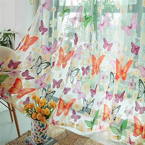 Mallalah - Visillo de tul con diseño de mariposas para ventana o puerta de cortina, divisor y bufanda transparente para salón, dormitorio, cocina