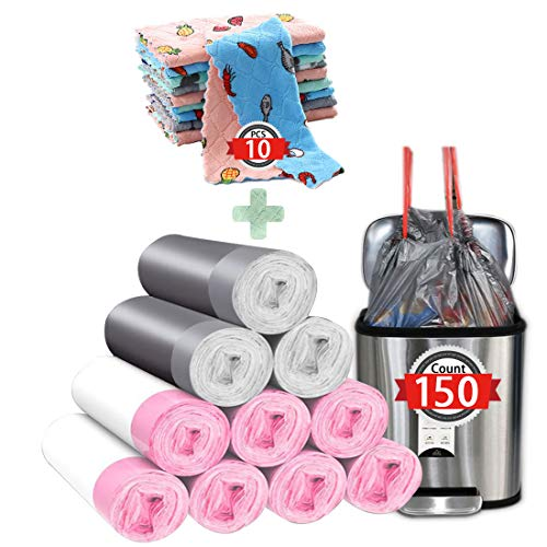 Trash Bags 4 Gallon Drawstring 150 Count kitchen trash Bags garbage Bags for kitchen Office Bathroom Bedroom,10Pcs Cleaning Cloth Dish...