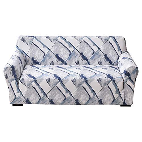 papasgix Fundas de Sofa 1/2/3/4 Plazas Ajustables Fundas elasticas para Sofas Cubierta para Sofa Antideslizante Lavable Decorativas Protector para Sofás para Perros Gatos(Azul Blanco,1 Plaza)