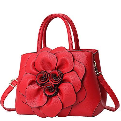 Women Fashion Handbags Messenger Bag PU Leather Crossbody Bags Ladies Top Handle Satchel Purse-Red