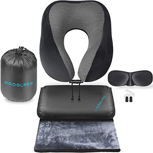 Proglobe Nackenkissen-Reiseset - Reisekissen für Flugreisen 100% Memory-Schaum mit bequemer und atmungsaktiver Abdeckung, einschließlich 3D-Schlafmaske, Ohrstöpseln sowie luxuriöser Decke und Tasche