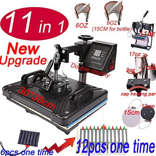 QWERTOUY 11 In 1 Combo Warmtepers Machine Muntifunctionele Sublimatie Warmteoverdracht Printer Voor Mok/T shirt/Telefoonhoesjes/Pen/Rock/MDF