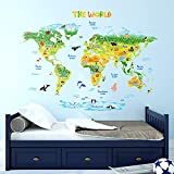 DECOWALL DLT-1715 Geological World Map with Animals Kids Wall Stickers Wall Decals Peel and Stick Removable Wall Stickers for Kids Nursery Bedroom Living Room (Xlarge) décor