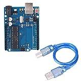 Dibiao Módulo R3 Conveniente para Presionar Placa de Desarrollo de Microordenador de Un Solo Chip Atmega328 con Cable Usb Placa de Desarrollo 328P 16U2 para Que Los Principiantes