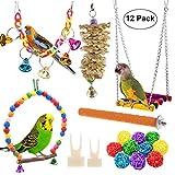 Lot de 12 jouets à mâcher pour perroquet, balançoire à suspendre - Pour petits perruches, cockatiel, conures, pinsons, aras, perroquets, oiseaux amoureux