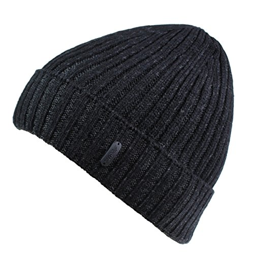 Connectyle Outdoor Classic Bassic Men 's Warm Winter Hats Thick Knit Long Cuff Beanie Cap with Lining, 55 60cm, Black