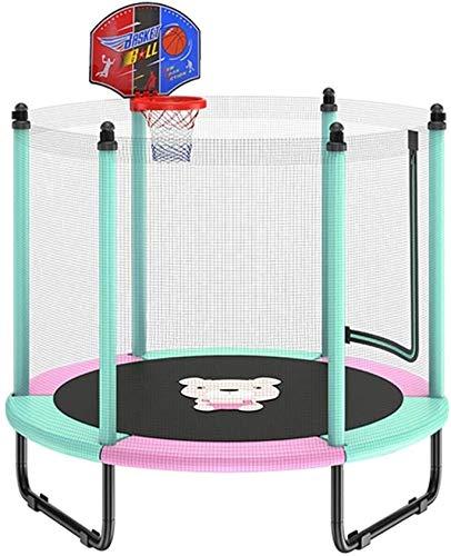 Mopoq Trampolin mit Basketballkorb, Trampolin for Kinder mit Sicherheitskabine Net, Geburtstagsgeschenke for Kinder, 250 kg Last (Color : Blau)