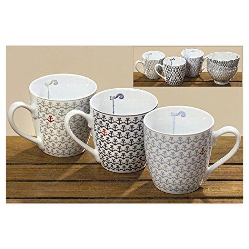 Boltze 3 Kaffeetassen Kaffeebecher 'Ebbe & Flut' Anker blau, grau, rot & weiß 400 ml