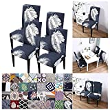 Elastischer Stuhlbezug Jacquard Husse Stuhlhusse Stretch für Esszimmerstühle 4er Set Abnehmbarer Stuhlabdeckung Beschützer Stuhlhussen Moderne Universal Stretch Husse für Stuhl Esszimmer