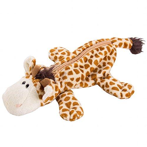Flexibuy Cute Cartoon Animal Design Giraffe Soft Plush Pencil Box Case Pocket Zipper Coin Holder (#1)