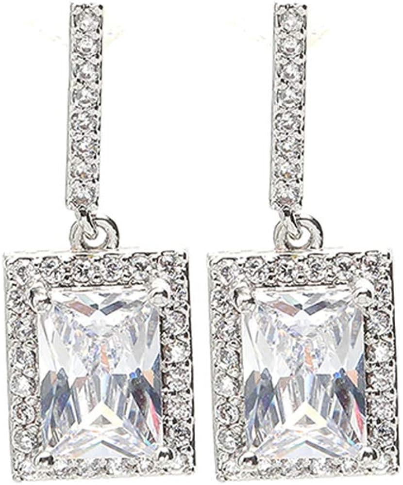 Square Drop Dangle Earrings, Twilight Sparkling CZ Halo Diamond Earring Box Set for Women, Christmas Jewelry for Girls