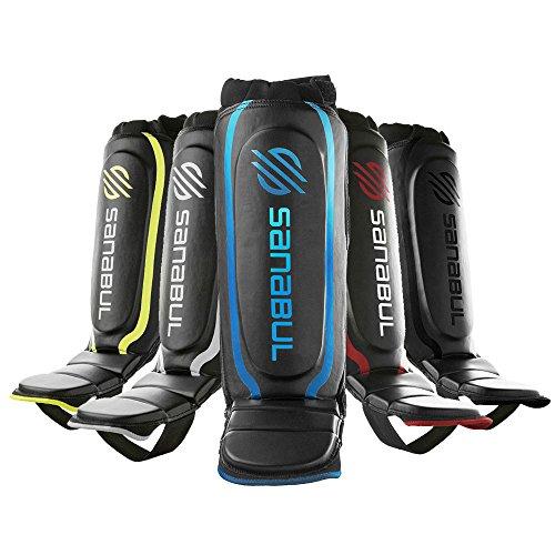 Sanabul Essential Hybrid Kickboxing MMA Shin Guards (BLUE, S/M)