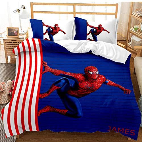 YuanLu Spider-Man Bettwäsche-Set, Doppelbettgröße, weich gestreift, Bettbezug-Set mit Cartoon-Charakteren, 3D-Druck, 1 Bettbezug + 2 Kissenbezüge (ohne Deckenbezug)