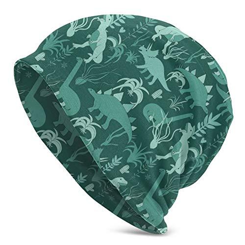 QUEMIN Süßer Dinosaurier und Tillandsia Sukkulenter Dino und Pflanze Grün Slouchy Beanie Hat Caps Winter Soft Stretchy Knit Skull Cap für Frauen Männer