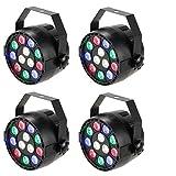 Lixada DMX-512 12 LED - Luz de Escenario Espectroscópico Profesional LED Luces, 8 Canales RGBW(4 PCS)
