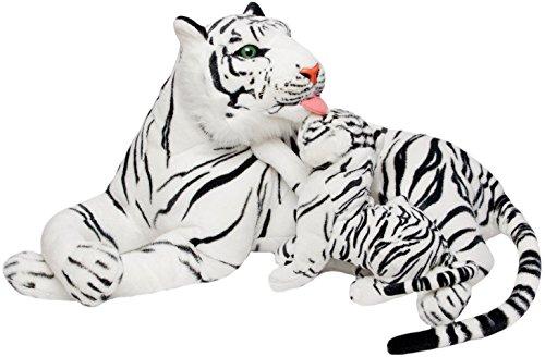 BRUBAKER Peluche de Tigre de 100 cm con Tigre Bebé - Peluche para Madre e Hijo Acostado - Blanco