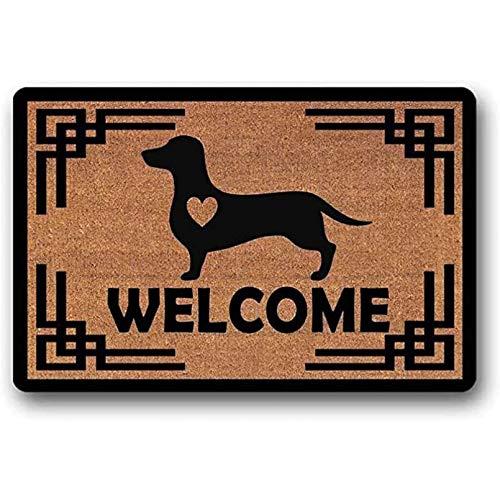 N/A Bienvenido Dachshund Doge con Un Corazón - Felpudo De Fibra De Coco - Felpudo De Goma Antideslizante Alfombra De Entrada Alfombra De Suelo Alfombra De Balcón Decoración Divertida del Hogar