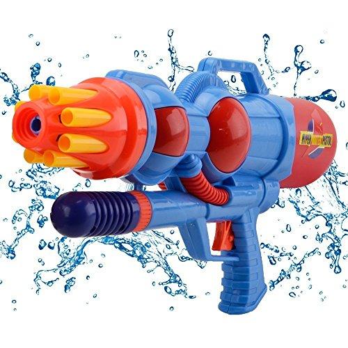 Hanmun Pistola ad Acqua con Doppio ugello, da 1200ml, per Bambini, Super Potente, Giocattolo per l'Estate per Bambini e Bambine da 3Anni in Poi (Rosso-Blu)