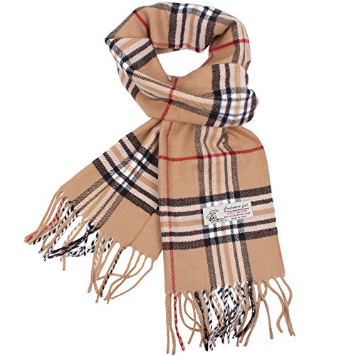 Plaid Cashmere Feel Classic Soft Luxurious Winter Scarf For Men Women, Camel, One Size