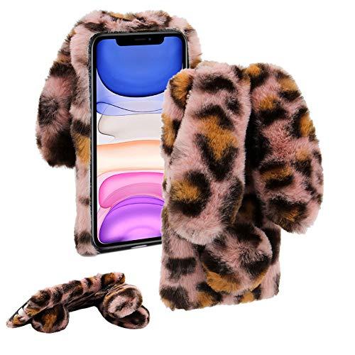 Cestor Plüsch Kaninchen Häschen Ohren HandyHülle für Samsung Galaxy A20E,Niedlich Winter Warm Pelzig Weich Flauschige Faux Pelz Glitzer Diamant Stoßfest Silikon Hülle,Rosa Leopard