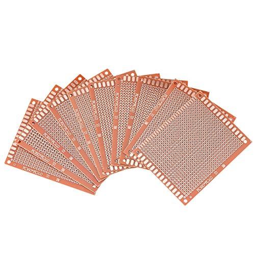 Akozon Basetta Millefori, 10 pz Millefori Singolo Faccia Prototipazione Circuiti Stampati Universale Componenti Elettronici per Saldatura a Saldare Fai da te 7 x 9 cm