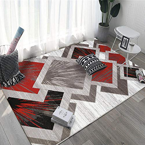 Big Rugs For Living Room Gray red square geometric salon rug is durable and customizable Carpet Rug Anti-Slip Coffee Table Carpets red 140X200CM