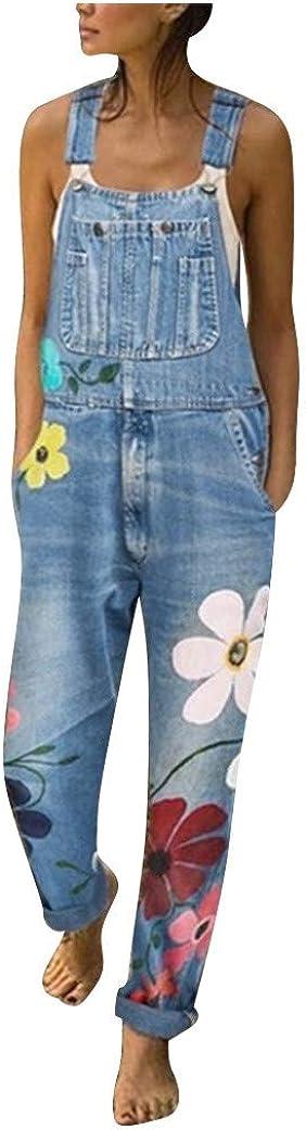 LOPILY Hose Damen Latzhosen mit Blumendruck Locker Oversized Jeanshose Boyfriend Damen Jeans Skinny Latzhosen Jumpsuits Casual Overalls Winter Damen Playsuits Denim Hosenanzug