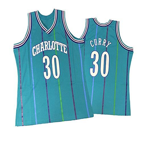 Legend Rückfall Basketball Trikot, Charlotte Hornets 30# Dell Curry Stickerei Atmungsaktive Swingman Jersey Weste, 90S Hip Hop Kleidung T-Shirt Top für Party -Lightblue-L
