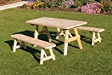 Outdoor 4 Foot Pine Picnic Table with 2 Benches Detached - Unfinished - Amish Made USA