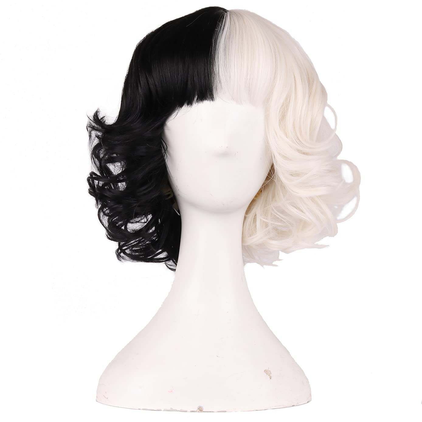 Max 68% OFF BERON Black and White Short Wig Curly H Bob Wavy Super beauty product restock quality top Wigs with Bangs
