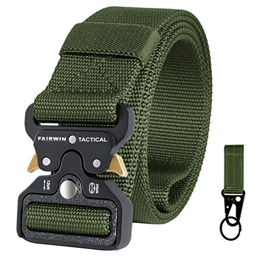 Fairwin Tactical Belt for Men, Military Style Nylon Web Belt with Heavy-Duty Quick-Release Metal Buckle (Green, M (Waist 36''-42''))