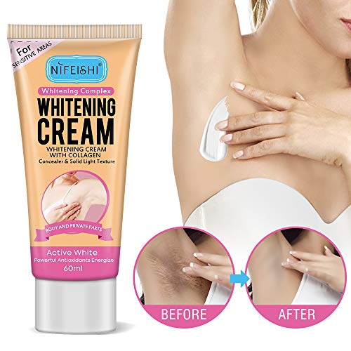 Whitening Cream, Active Whitening Complex Cream with Collagen Concealer & Solid Light Texture for Sensitive Areas,Body,Armpits,Private Parts,Elbows,Face,Feets,Knee,Hands,Inner Thigh,Neck