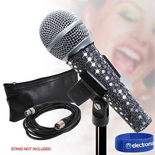 Studiomaster KM92 Bedraad PA Radio Microfoon, Kabel, Clip, Hoesje + Glam Skin Cover