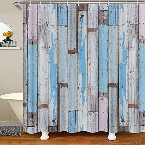 Loussiesd Cortina de ducha de madera para puertas de madera, decoración de suelo de madera envejecida, cortina de baño con 12 ganchos de poliéster impermeable de 172 x 200 cm